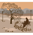 Loneliness a walk in the park man vector image