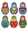 Matryoshka Russian doll colorful icons set vector image vector image