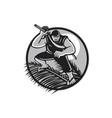 Samoan Ninja on top of Coconut Front Circle vector image vector image