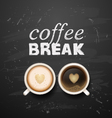 coffee and latte on wooden background vector image vector image
