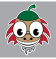cartoon - styled acorn with green cap and red hair vector image