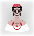 Girl with makeup for Day of the Dead vector image