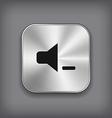Speaker volume quiet icon - metal app butto vector image