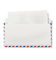 View of backside of opened DL air mail envelope vector image