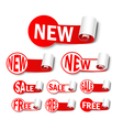Set of new labels vector image vector image