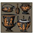 ancient greece antique amphora set vase with vector image