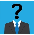 Businessman with Question Mark Head vector image vector image