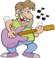 Cartoon man playing a guitar vector image