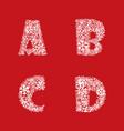 alphabet set christmas winter holiday decor latin vector image
