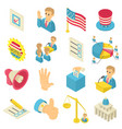election voting icons set isometric style vector image