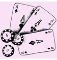 playing chips and poker cards vector image