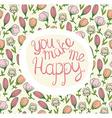Stylish wedding invitation made of flowers Vintage vector image