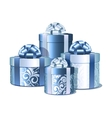 Silver and blue gift boxes vector image vector image
