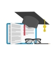 Graduation cap on book vector image