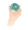 Hand Holding Planet vector image