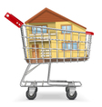 Cart with Cottage vector image