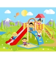 Playground with Slide and Children vector image