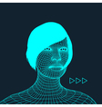 Woman Head of the Person from a 3d Grid vector image vector image