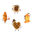 funny breakfast characters with smiling faces vector image