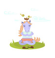 funny meditate animal character vector image
