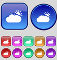 Partly Cloudy icon sign A set of twelve vintage vector image