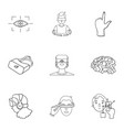 virtual reality set icons in outline style big vector image