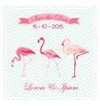 Save the Date - Wedding Card with Flamingo Birds vector image vector image