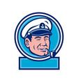 Sea Captain Smoking Pipe Circle Retro vector image