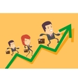 Business people run up on the graph vector image