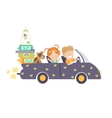 Couple traveling by car vector image