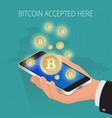 digital bitcoin golden coin with bitcoin symbol in vector image