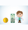 doctor holding stethoscope to check money health vector image