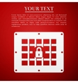 Prison window flat icon on red background vector image