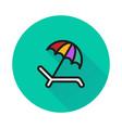 umbrella recliner icon on round background vector image