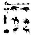 Winter Silhouettes of animals sled dogs and the vector image