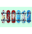 Collection of blue and red skateboard with vector image
