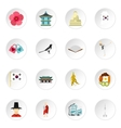 South Korea icons set flat style vector image