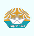 logo is a paper boat in the sun vector image