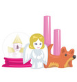 souvenirs and home accessories candle and pink vector image