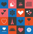 Hearts and valentines symbols vector image vector image