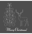 Christmas tree and reindeer vector image