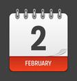february 2 calendar daily icon vector image