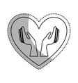 heart with hands human icon vector image