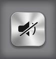 Mute icon - metal app button vector image