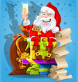 Santa Claus and champagne vector image vector image