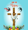 easter sunday cross with eggs greeting card vector image