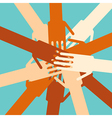 People overlapping hands to show unity vector image