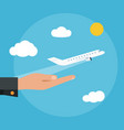 the plane takes off from the palm of hand vector image