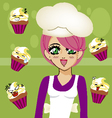 manga girl chef 3 vector image