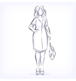 Contour of overweight elegant woman vector image